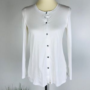 Hanro of Switzerland Cotton White Button Up Shirt